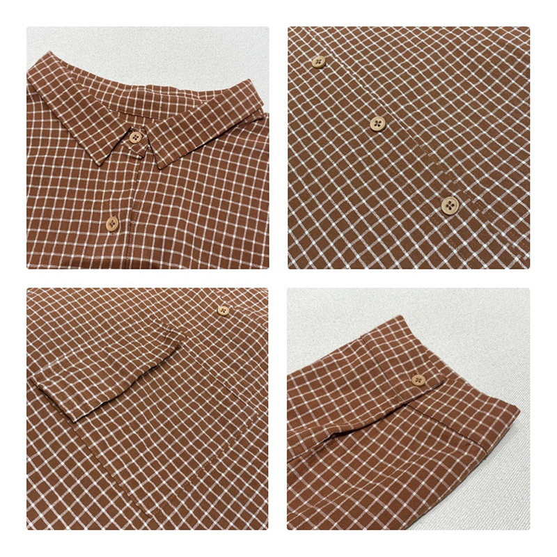 luźno dopasowany projekt Minimalist Stylish Casual Solid Striped Checked overshed cust 17836 Loose Checked Shirt