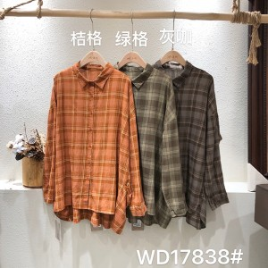 luźno dopasowany projekt Minimalist Stylish Casual Solid Striped Checked overshed cust 17838 Loose Checked Shirt